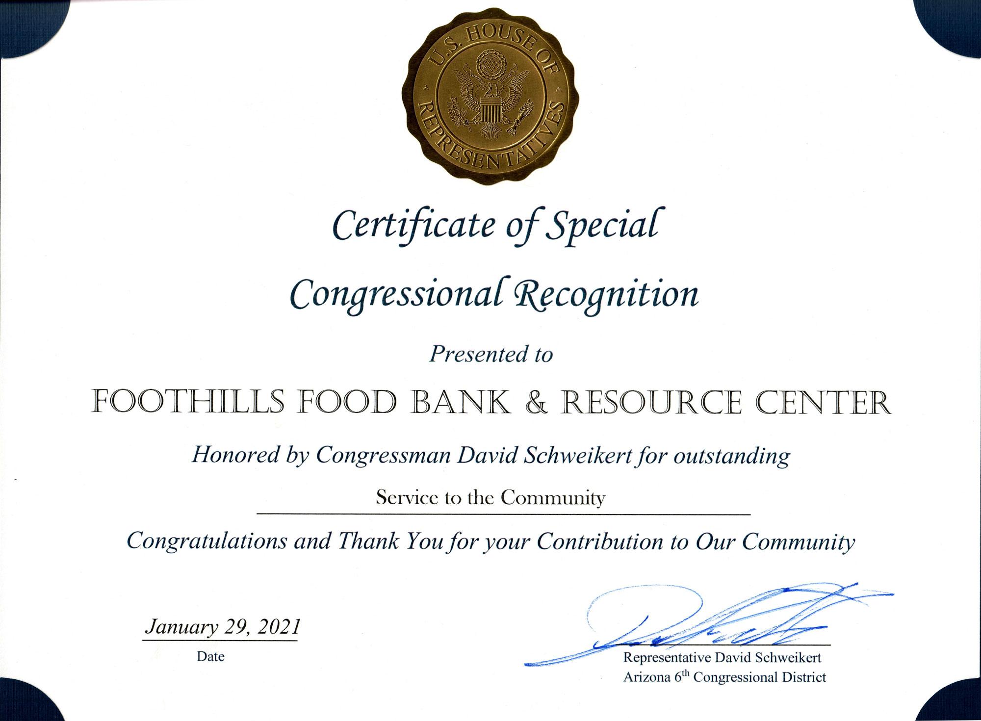 Congressman David Schweikert Recognizes Foothills Food Bank
