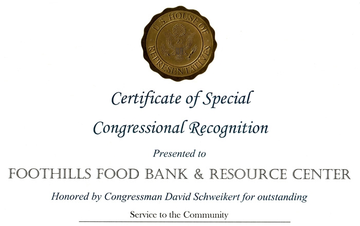 Foothills Food Bank Special Congressional Recognition