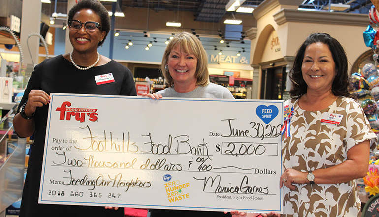 Fry's Zero Hunger Zero Waste Initiative donates to the Foothills food Bank