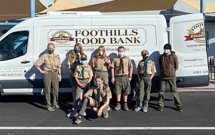 scouts holding a food drive for the foothills food bank