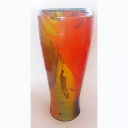 Heede-orange Raku vase-1