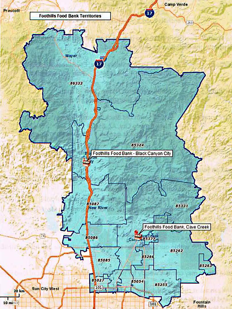 Foothills Food Bank & Resource Center Service Area Map