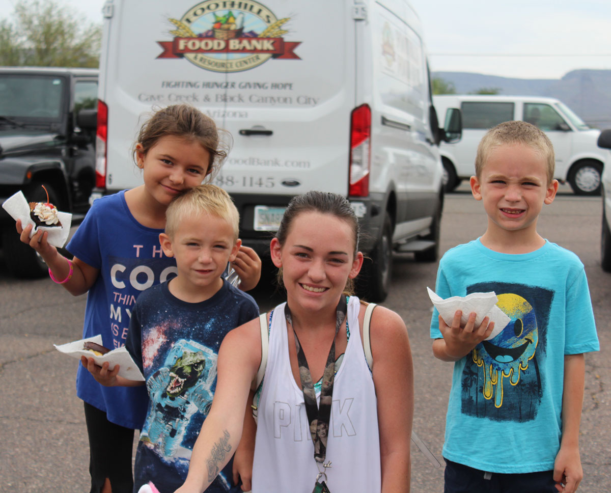 small family at the foothills food bank