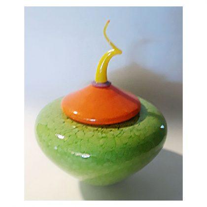 Green and orange lidded jar